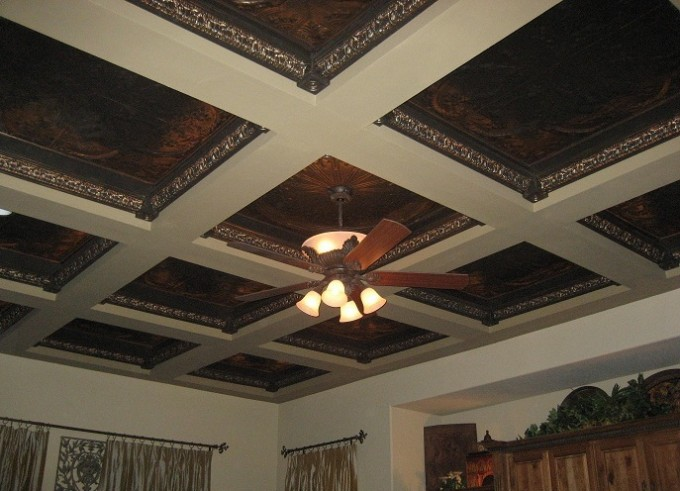 Amazing Coffered Ceiling With Ceiling Fan With Light For Luxury Ceiling Ideas