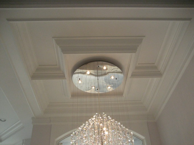 Amazing Coffered Ceiling With Lovely Chadelier Matched With White Wall For Luxury Ceiling Ideas