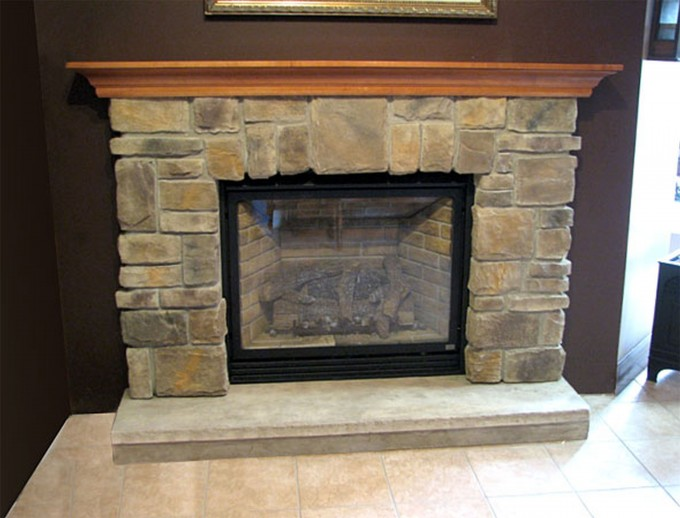 Astonishing Natural Stone Fireplace Mantel Kits With Ceramics Floor