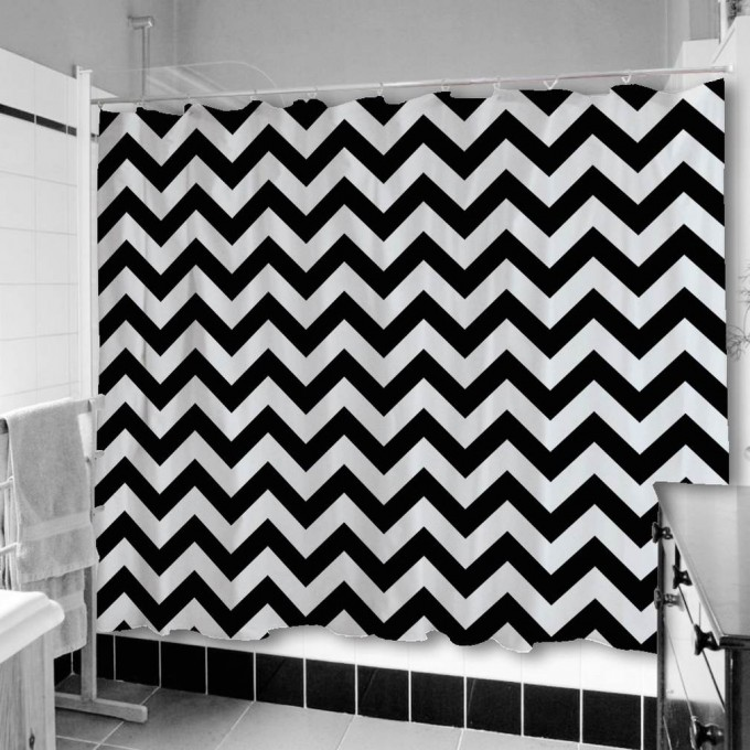 Awesome Chevron Curtains In Black For Shower Stall For Bathroom Ideas