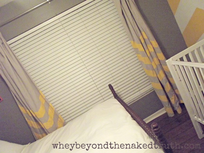 Awesome Chevron Curtains In Grey And Orange Matced With Greay Wall And White Bedding For Bedroom Ideas