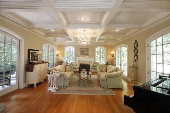 Awesome Coffered Ceiling With Lights And Chandelier Matched With White Wall And White Wondow Plus Sofa Set For Beautiful Family Room Ideas