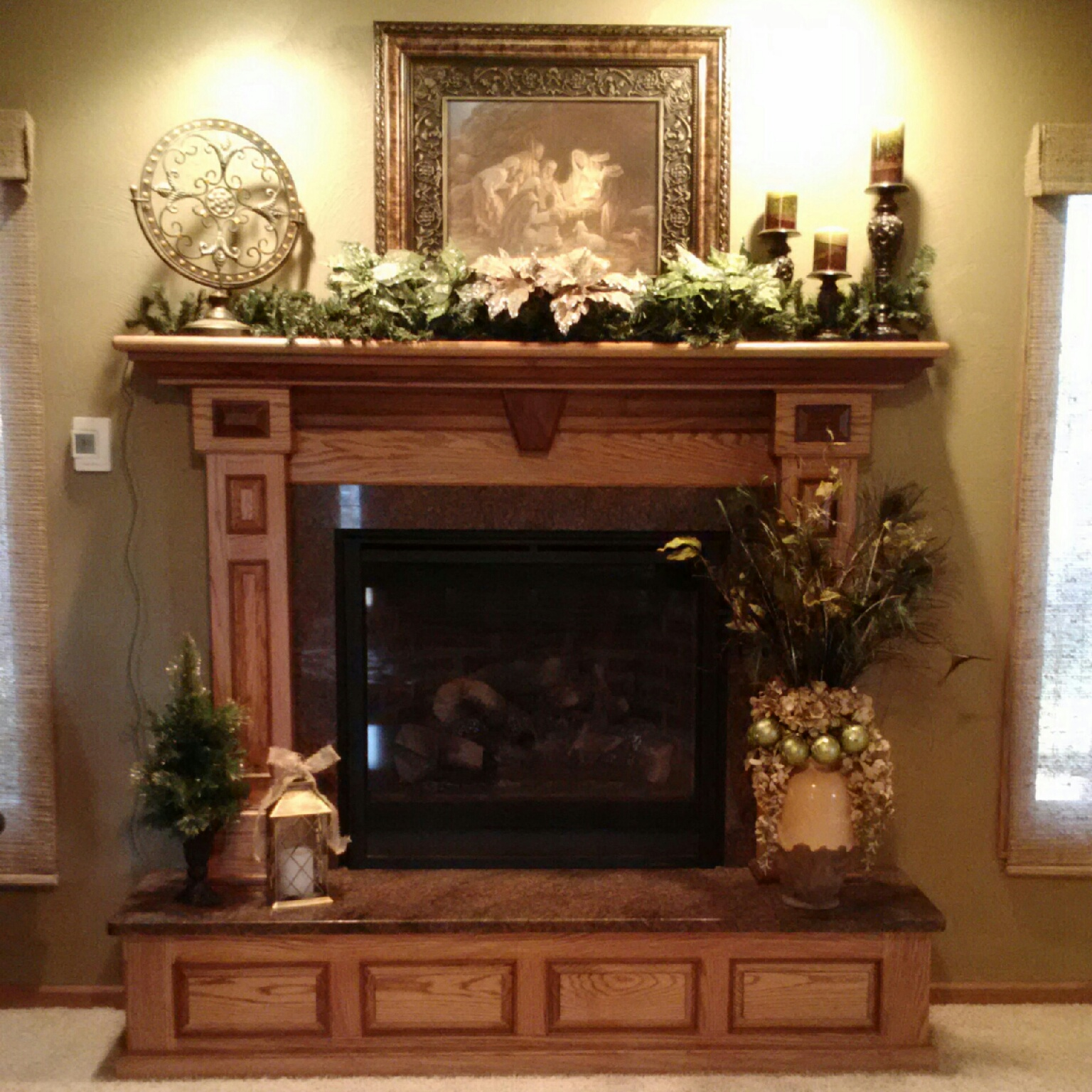 awesome Fireplace Mantel kits with flowers surround plus double windows