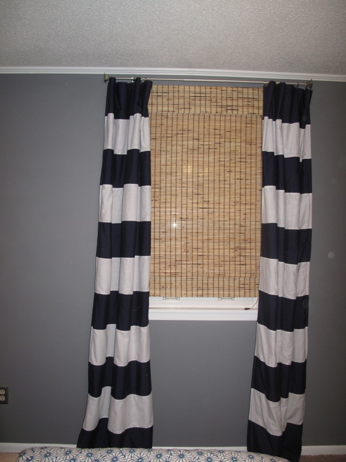 Awesome Horizontal Striped Curtains Crate And Barrel With Grey Wall Feat
