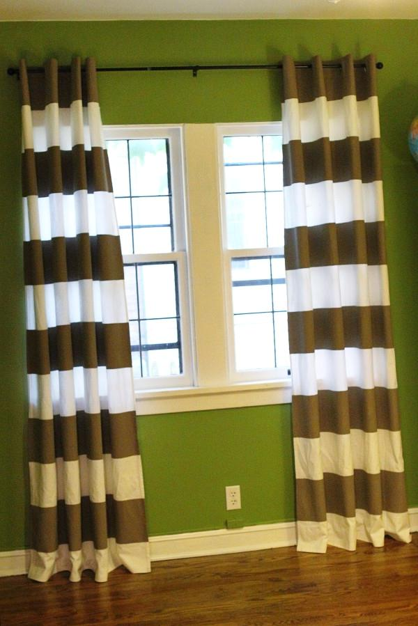Awesome Horizontal Striped Curtains With Single Hung Window And Green Wall