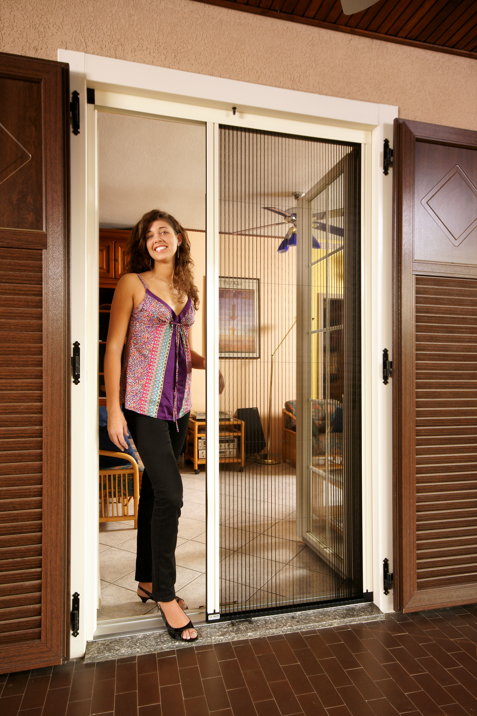 awesome Retractable Screen Doors brown hinge
