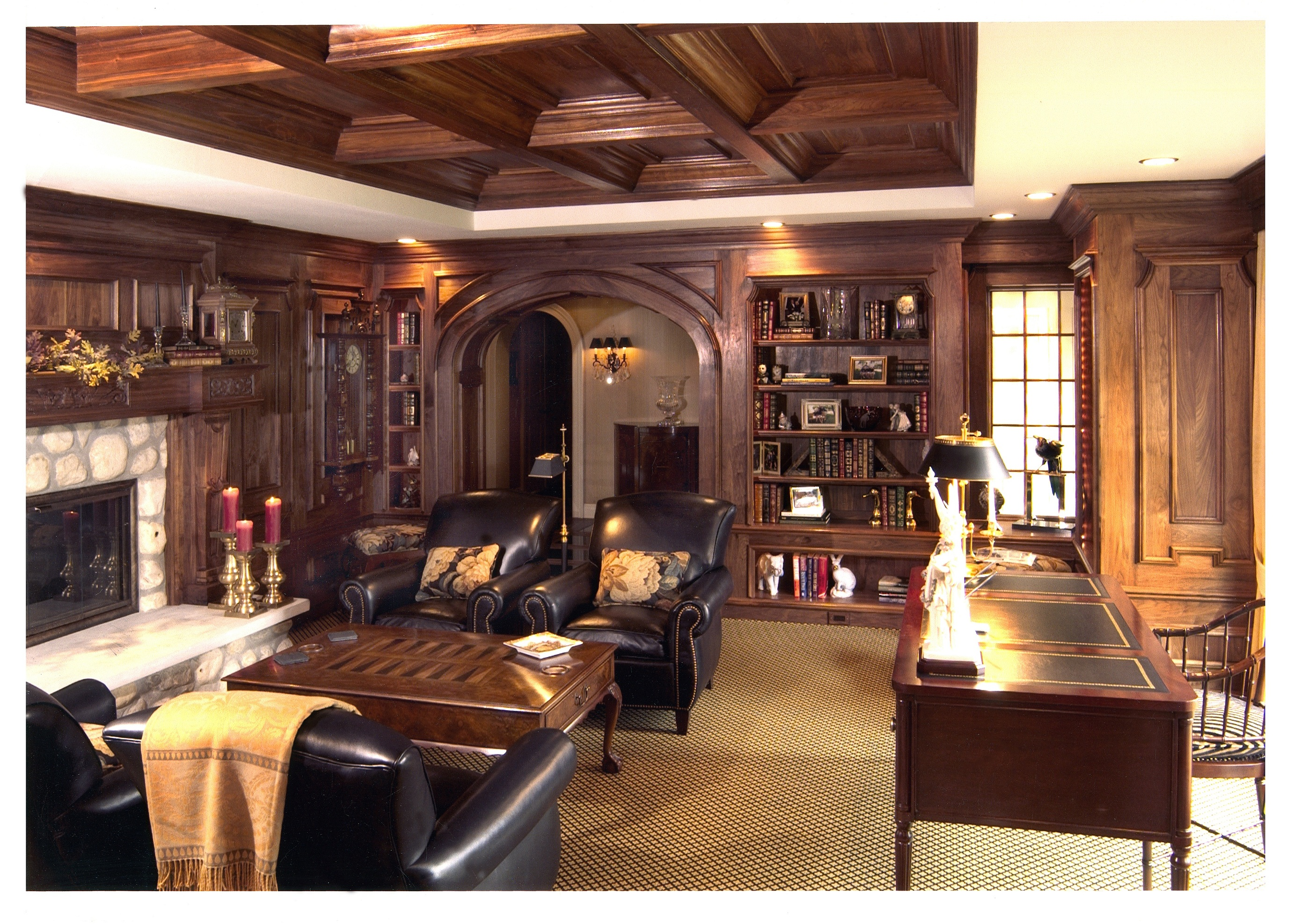 awesome wooden Coffered Ceilings with wooden book shelves and sofa for family room ideas