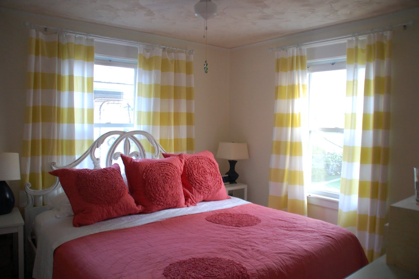 awesome Yellow Horizontal Striped Curtains with pink bed cover and pillow feat