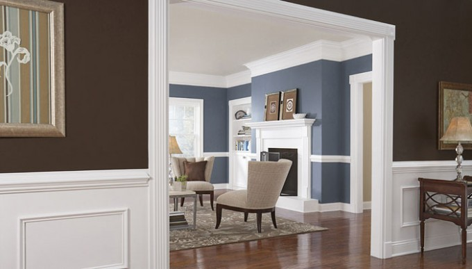 Baseboard Molding With Blue Wall And White Curtains