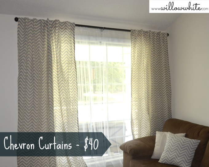 Beautiful Chevron Curtains With Brown Sofa And Chevron Cushions