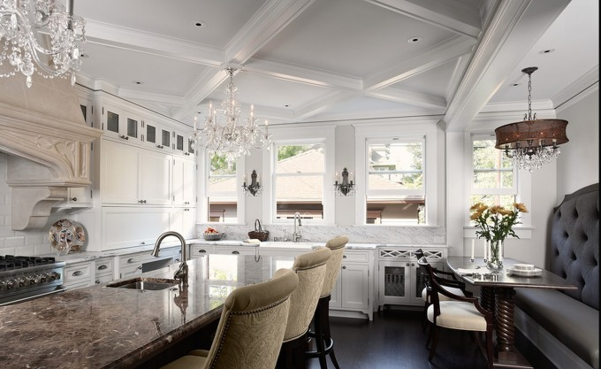 Beautiful Coffered Ceiling With Luxury Chandelier With Dining Table For Beutiful Dining Room Ideas