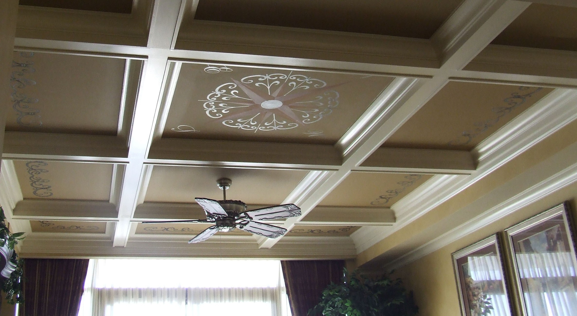 beautiful decoration of Coffered Ceiling Designs With ceiling fan matched with cream wall plus curtains