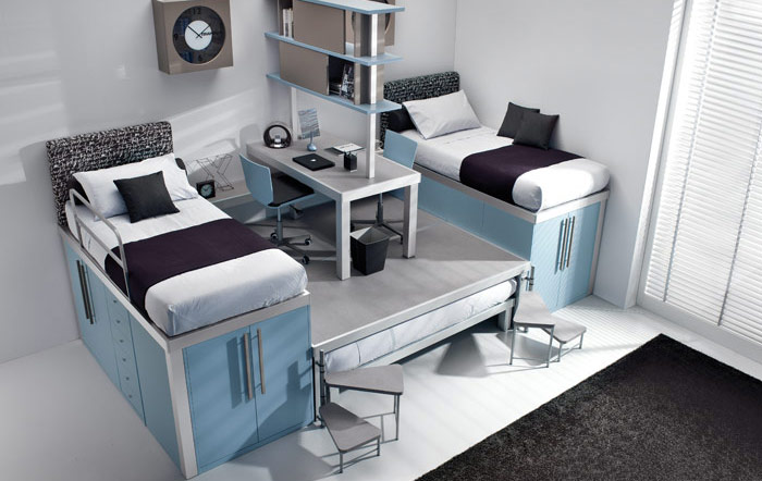 Beautiful double Loft Beds for teen with stairs and drowers plus a cool clock