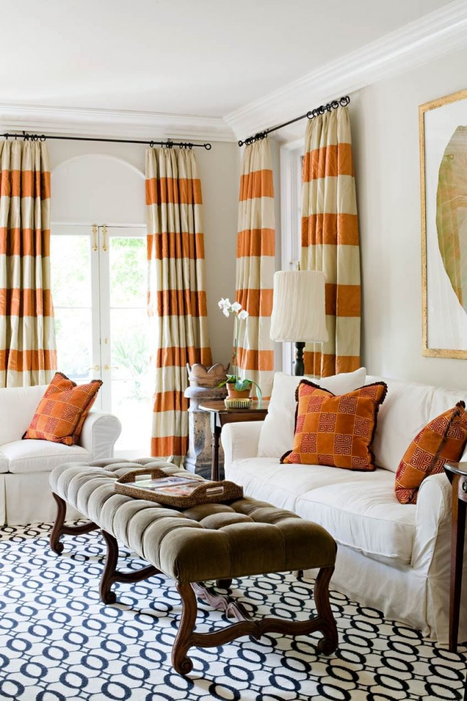 Beautiful Horizontal Striped Curtains In White And Orange With White Sofa And Orange Pillow