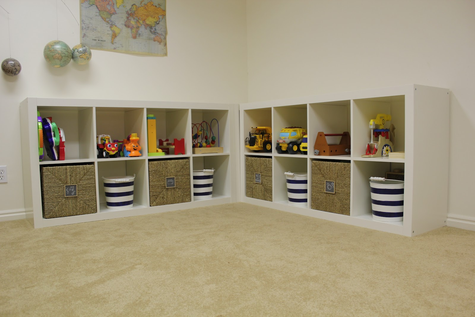 beautiful ikea toy storage filled with toys on white wall and cream floor for children room ideas