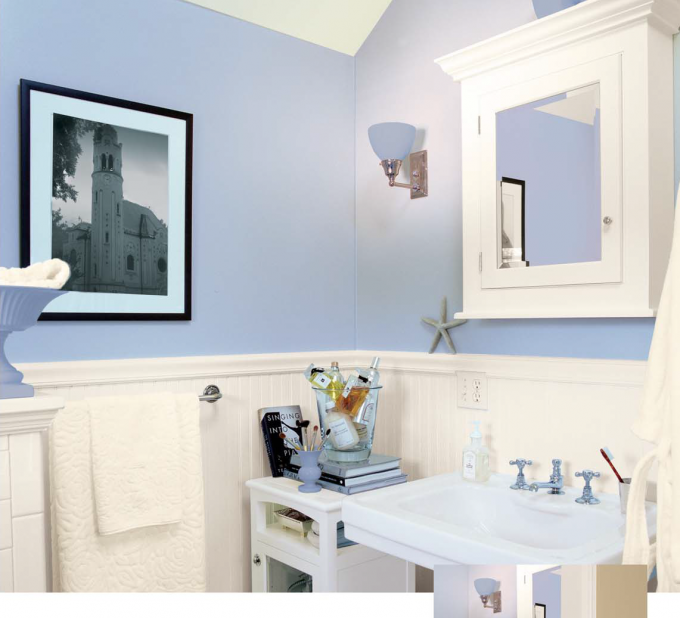 Beautiful Wainscoting Ideas With Bright And Beautiful Blue Wall For Inspiring Bathroom