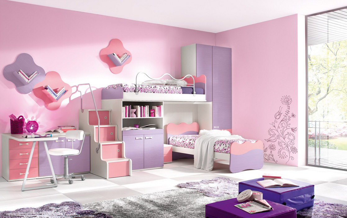 beutiful decoration of Loft Beds For Teens with puple and pink theme and desk