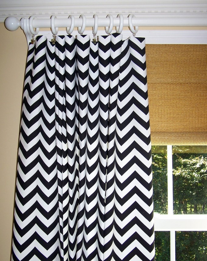 BLACK And White Chevron Curtains With Tan Wall And White Window