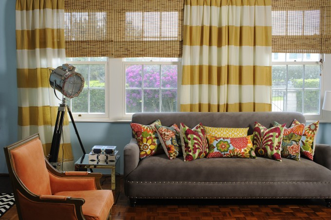 Black And White Horizontal Striped Curtains Matched With Grey Sofa And Floral Pillows