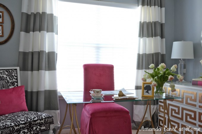 Black And White Horizontal Striped Curtains With Pink Chair And Glass Table Before Window