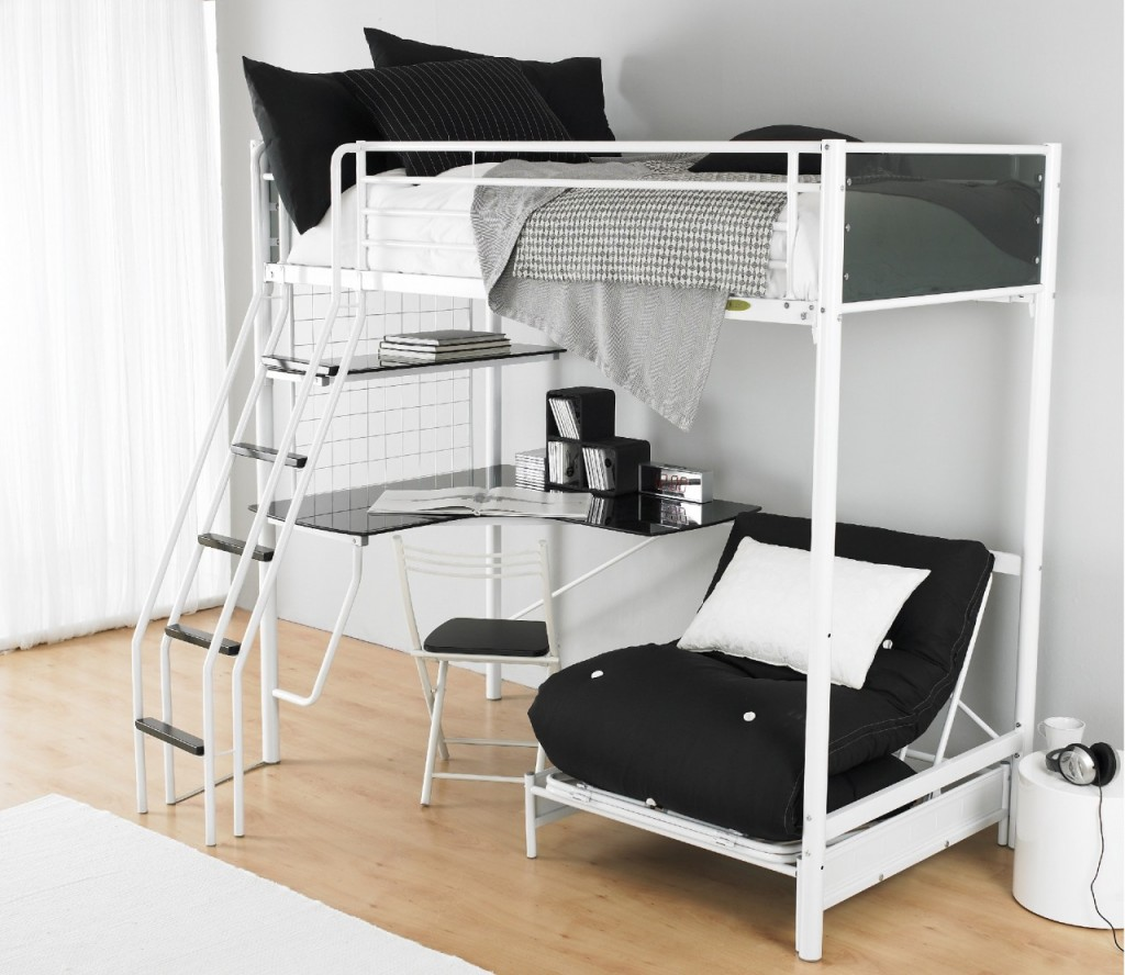 black and white loft Beds For Teens With Desk plus single sofa and wooden floor