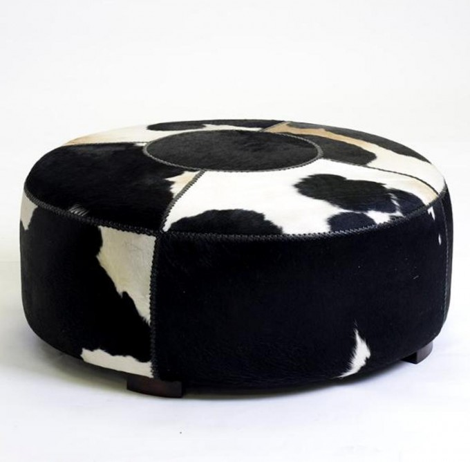 Black And White Rounded Cowhide Ottoman For Modern Ideas
