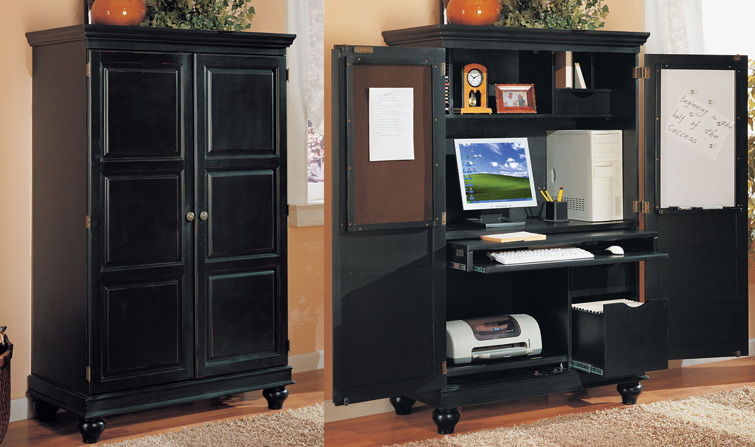 Black Computer Armoire with computer and printer inside