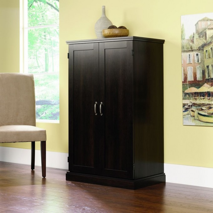 Black Computer Armoire With Green Wall And Picture Plus Chair And Wooden Floor For Your Home Office Decor Ideas