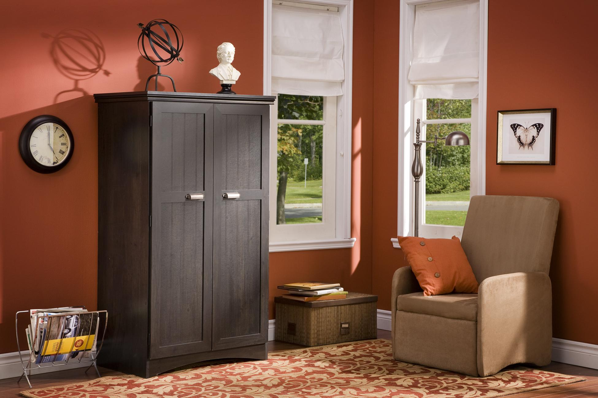 contemporary computer armoire desk computer armoire. Black Computer Armoire With Orange Wall And Single Sofa Floral Carpet For Family Room Decor Contemporary Desk W