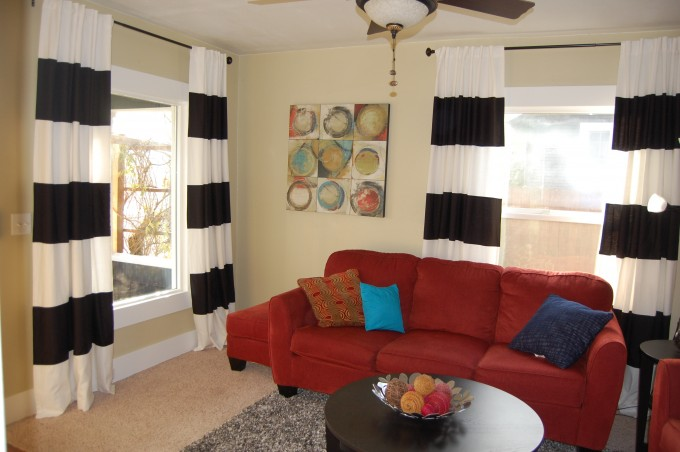 Black & White Striped Curtains Feat Red Sofa And Chandelier For Living Room Design Ideas