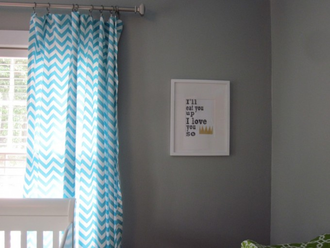 Blue And White Chevron Curtains With Grey Wall Ang Picture Plus White Table