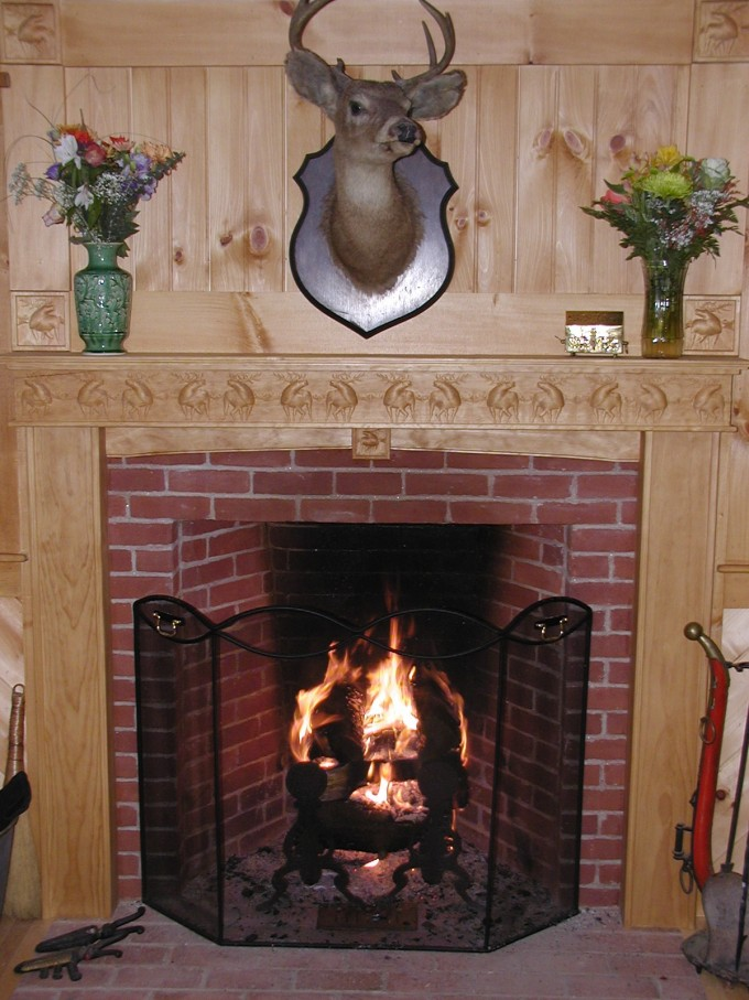 Brick Surround Fireplace Mantel Kits With Moose Ornament And Moose Head Above
