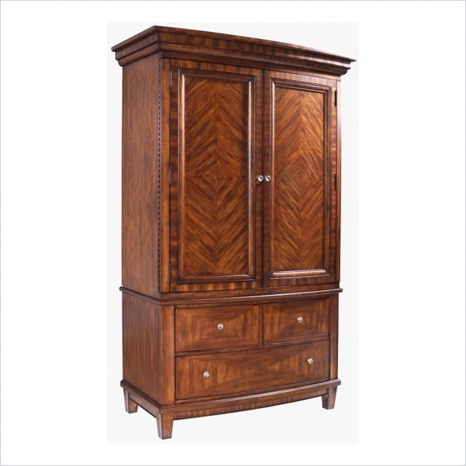 Brown Computer Armoire With Storages And Legs