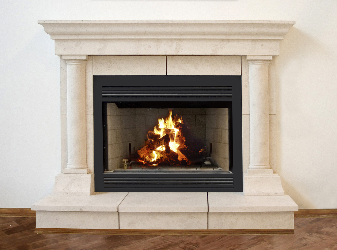 Cast Stone Fireplace Mantel kits Surrounds with wooden floor for inrerior design ideas