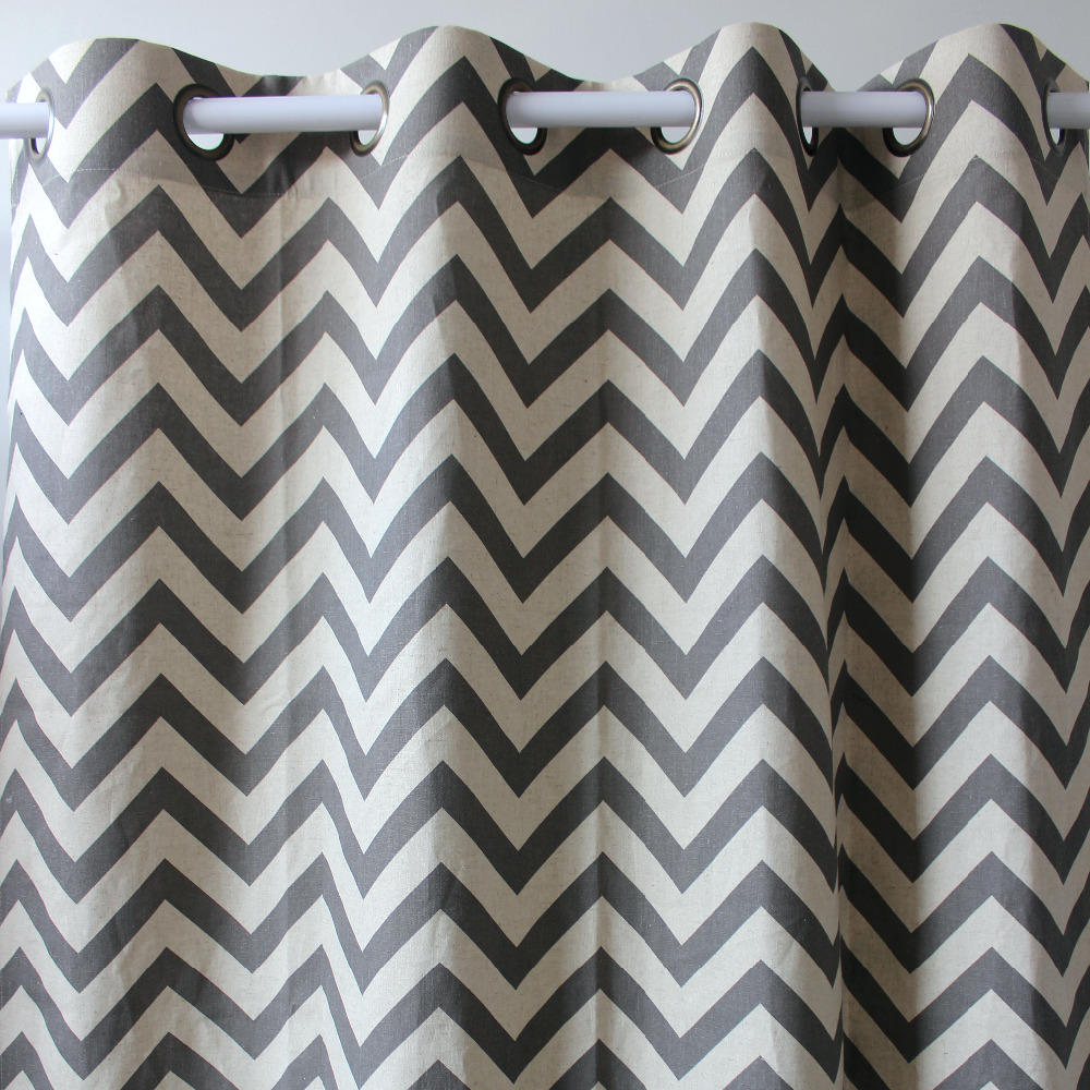 charming chevron curtains in grey and white matchen with white wall