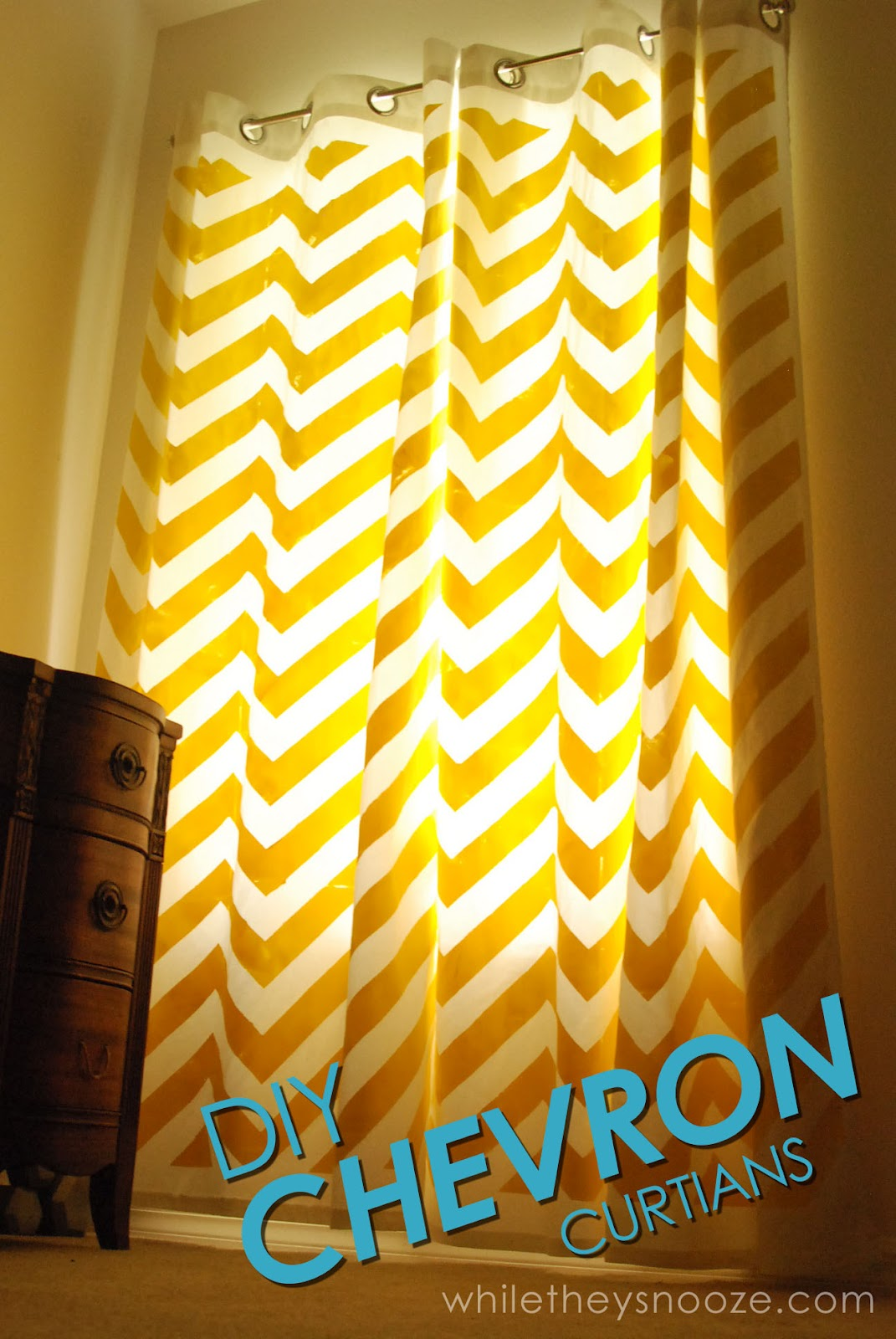 charming chevron curtains in yellow matched with yellow wall and brown natural drawer