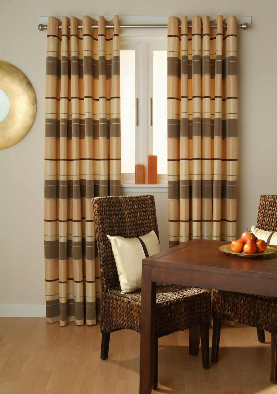 charming horizontal striped curtains with classic dining table