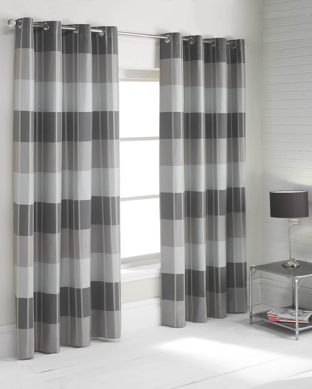 charming three gray and white horizontal striped curtains with table standing lamp and mini table