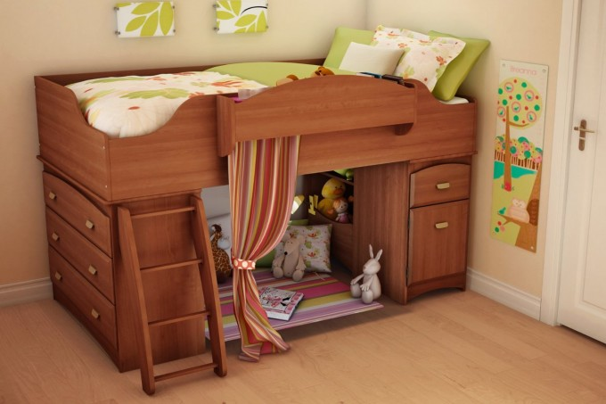 Charming Wooden Loft Beds For Teens With Small Room Below