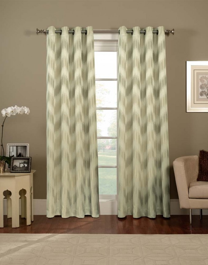 Chevron Curtains In Green And White With Picture On Wall And Sofa Plus Pillow