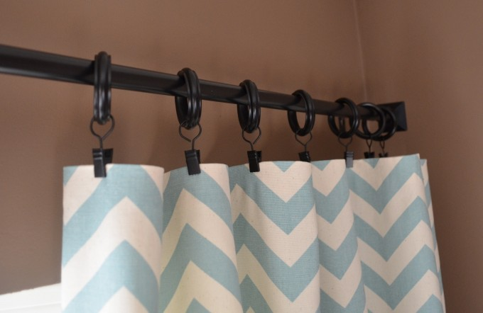 Chevron Curtains In White And Blue With Black Rings And Tan Wall