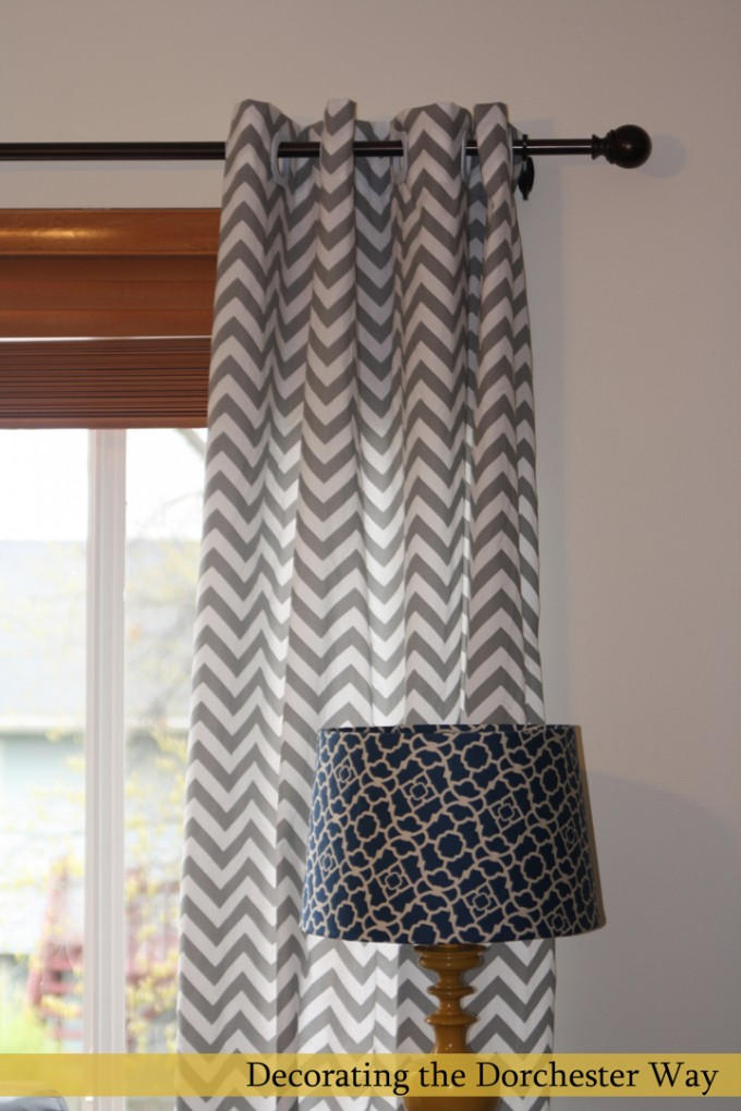 Chevron Curtains With Black Finial And White Wall