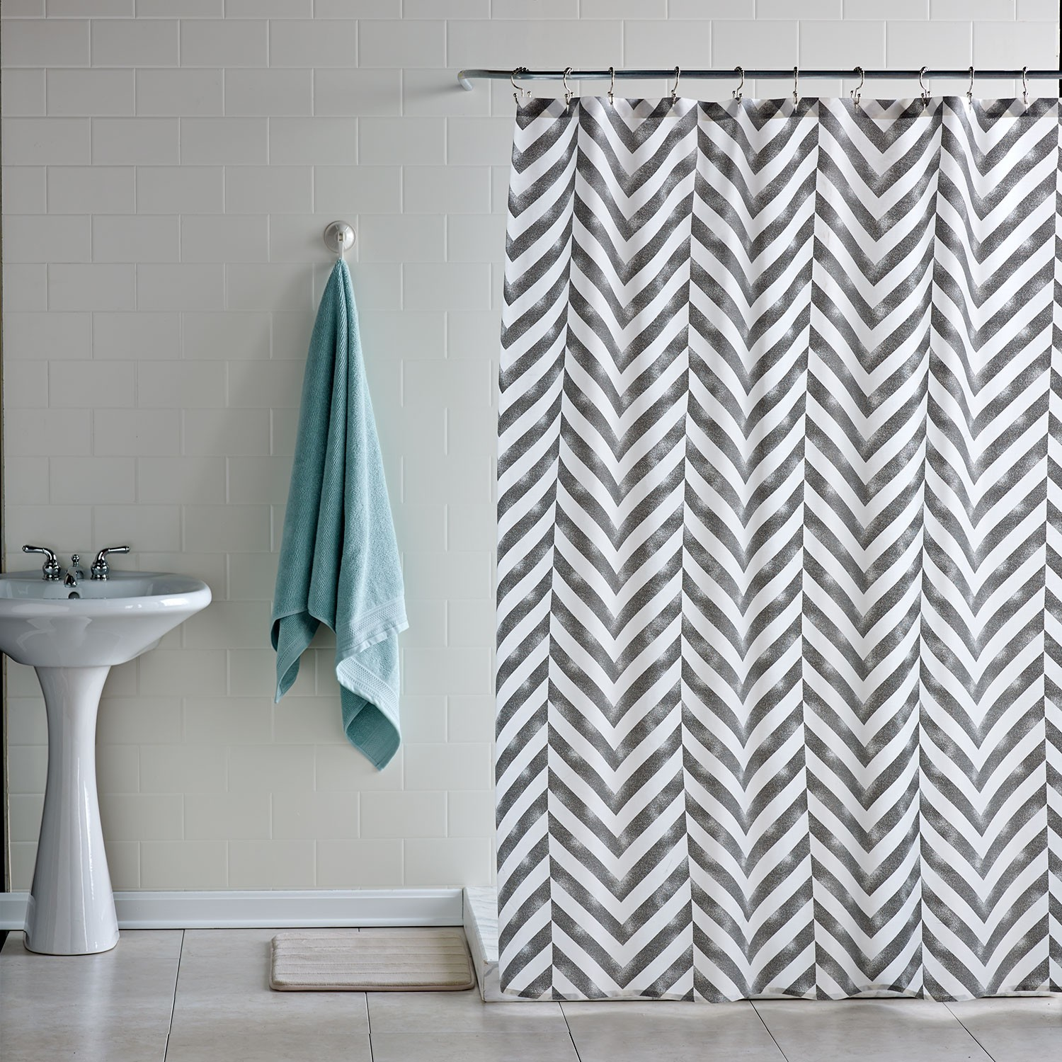 chevron curtains with white wall for bathroom ideas