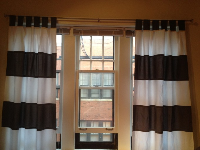 Chocolate And White Horizontal Striped Curtains With Single Hung Window