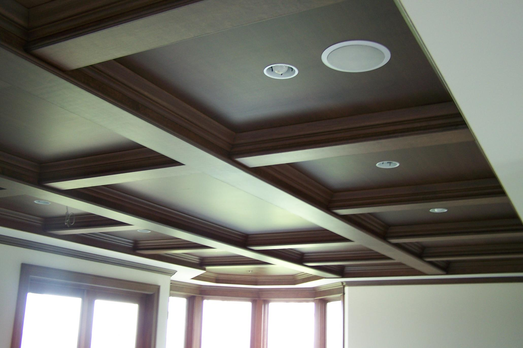 chocolate Coffered Ceilings with lights matched perfectly with white wall plus glass window