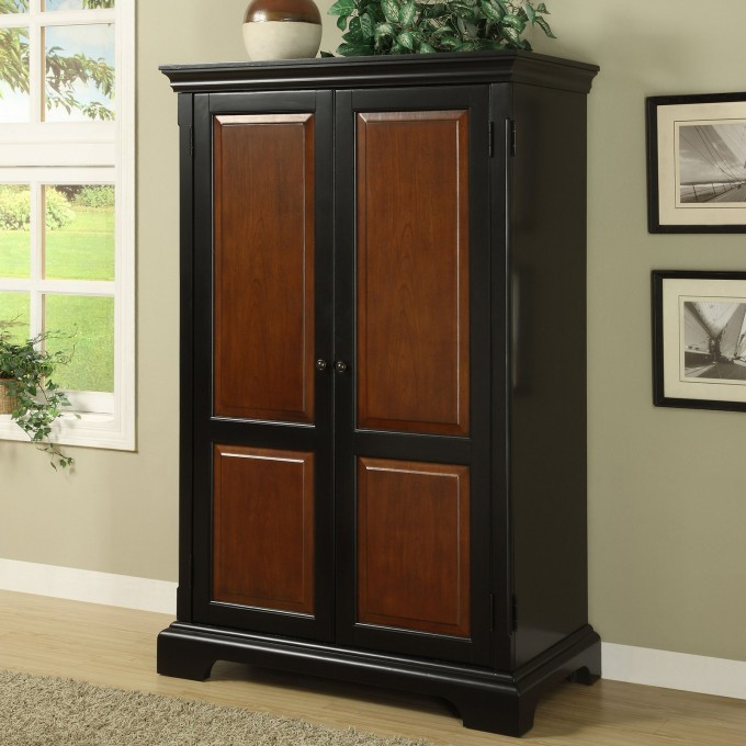 Classic Black And Brown Computer Armoire Near Window And Pictures