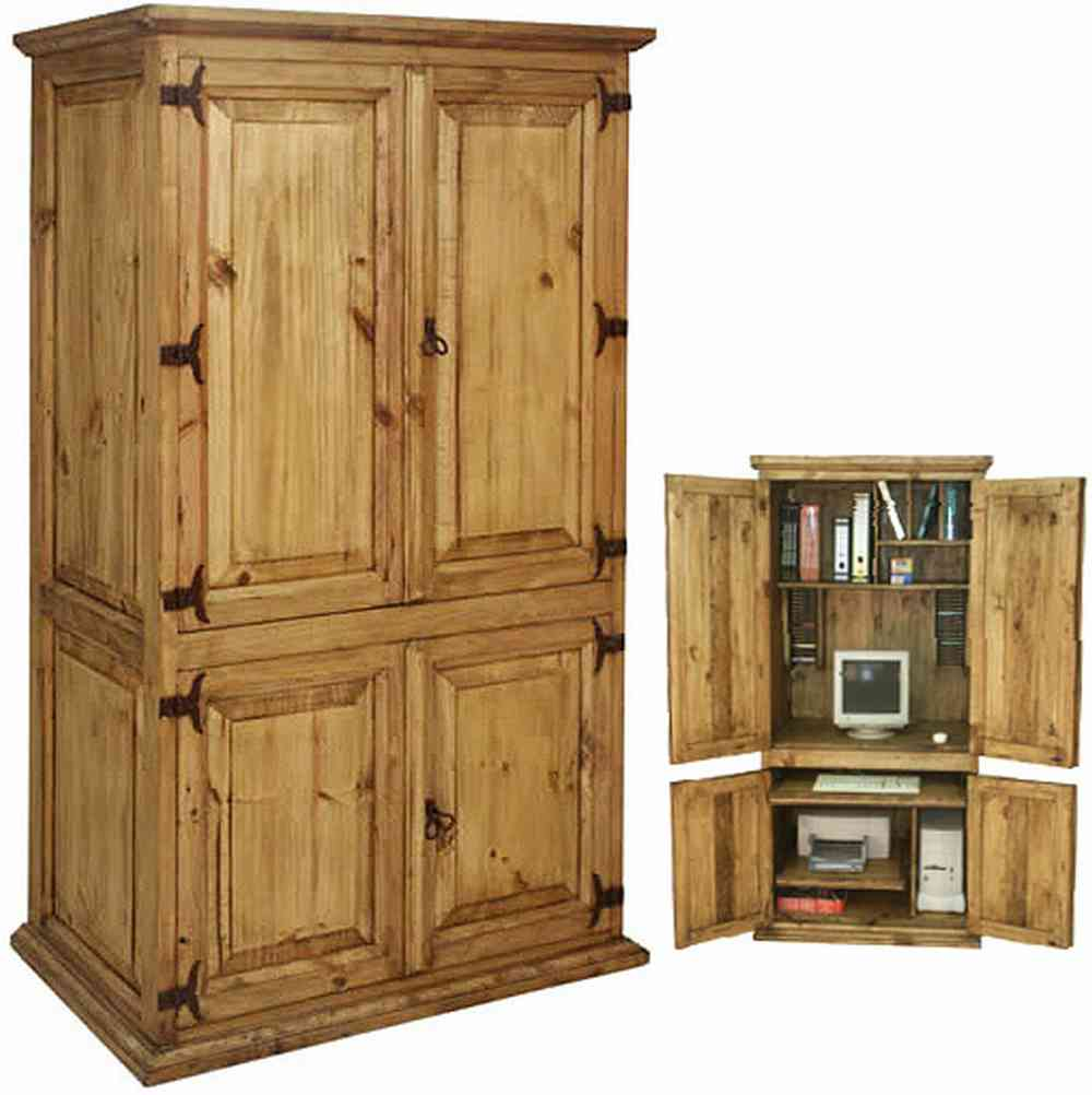 classic pine computer armoire with book and file shelf