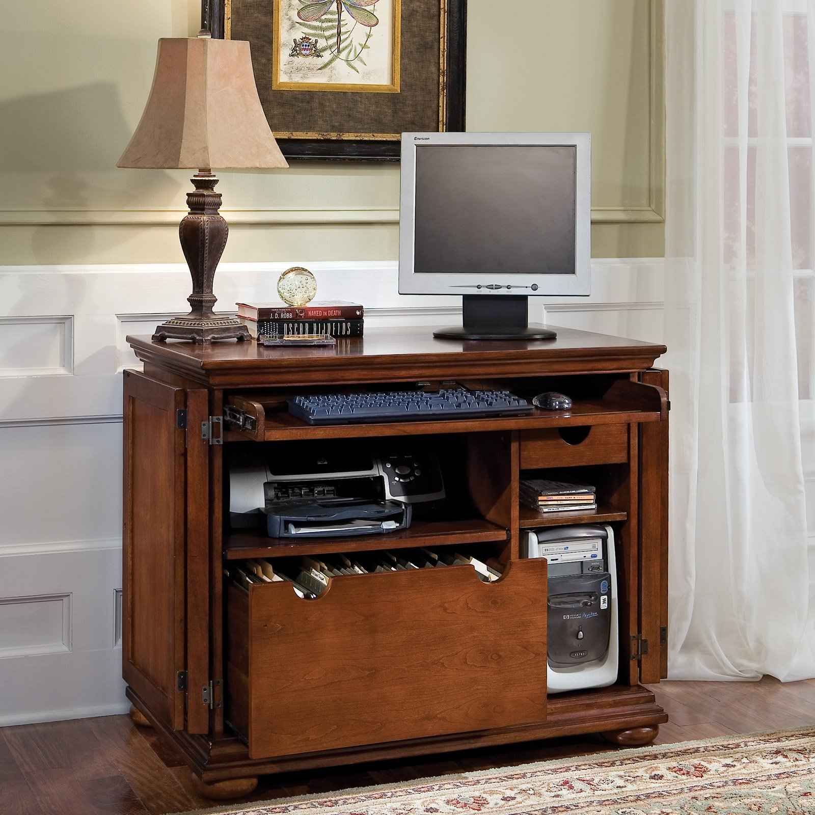 Classic Style of computer armoire with open storage design