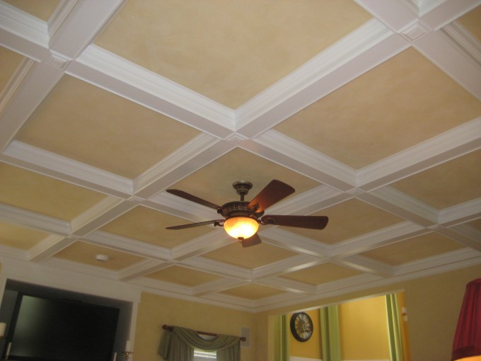 Coffered Ceiling In Cream And White With Lowes Ceiling Fan Plus Light Matched With Yellow Wall And Grey Curtains