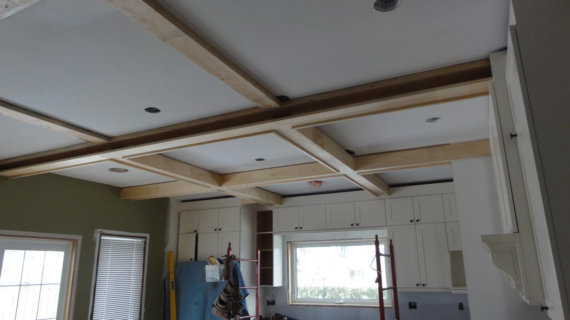 Coffered Ceiling in progress for kitchen ceiling plus awning window